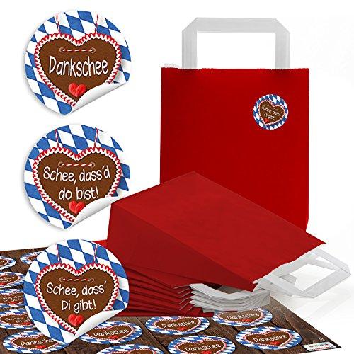 24 kleine rote Papiertüten Boden Papiertaschen Henkel 18 x 8 x 22 cm + 24 blau weiß karierte Bayern Aufkleber SCHÖN DASS DU DA BIST + Danke Geschenktüten Verpackung give-away Mitgebsel