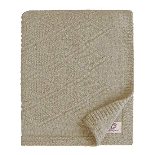 Linen & Cotton Leicht Warme Decke Wolldecke Gestrickt Arianna - 100% Reine Neuseeland Wolle, Beige Braun (120 x 180cm) Wohndecke Kuscheldecke Strick Sofadecke Strickdecke Plaid Schurwolle Couch Sofa