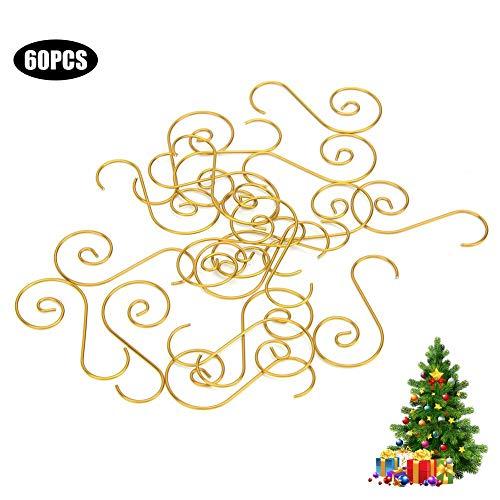 60 Stück Mini Mehrzweck-Metallhaken in S-Form Weihnachtsbaumhalter Dekoration Hohe Härtehaken(Gold)