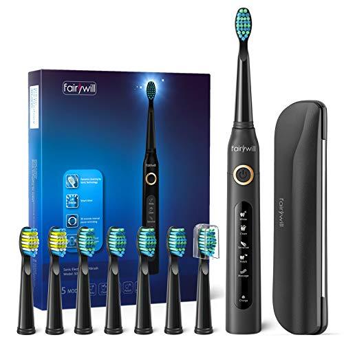 Elektrische Zahnbürste Fairywill 5 Modi Elektrische Schallzahnbürste mit Schwarz Reise-Etui 8 Aufsteckbürsten, 2 Minuten Timer, 4 Stunden USB-Aufladung für maximal 30 Tage, IPX7 Wasserdicht