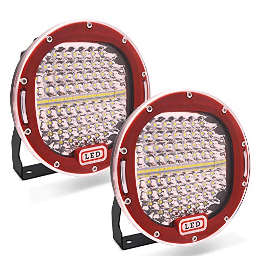 Safego 2pcs Focos LED, 7  300W 24000LM Faros Trabajo LED Spot 12V-24V Barra LED IP68 Impermeable Luz de Niebla para Coche,SUV, UTV, ATV,Off-road,Camión,Moto,Barco - Garantía de 1 años(Concha roja)