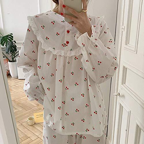 HUANSUN O-Cuello con Estampado de Cereza camisón Dulce con Volantes camisón Suelto Casual Homewear Pijama Vestido Ropa de Dormir Manga Larga Harajuku, Traje, Talla única