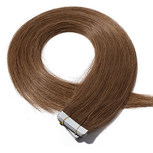 Tape in Hair Extensions Human Hair - Skin Weft 100% Real Remy Hair Extensions Straight 20 Pcs...