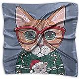 Bikofhd Satin-Schal mit weihnachtlicher Katze, seidenähnlich, leicht, Halstuch, Kopftuch