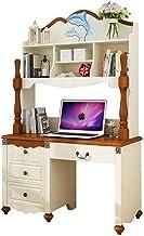 LJBH Computer desk, combination desk, bookshelf bookcase, study table, Mediterranean European computer desk, writing desk,...