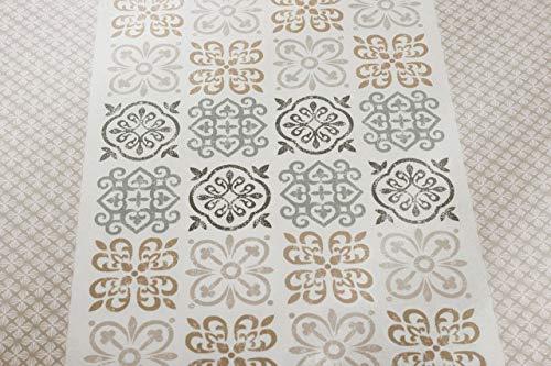 Tradilinge ~ Caro tafelkleed greige polyester geometrische patronen 150x350