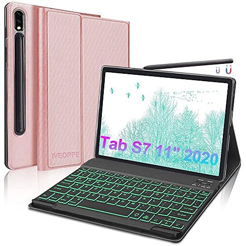 IVEOPPE Funda teclado para Samsung Galaxy Tab S7 11' 2020, funda con teclado para tablet Samsung S7 (SM-T870/T875), teclado QWERTY italiano Bluetooth desmontable retroiluminado (oro rosa)