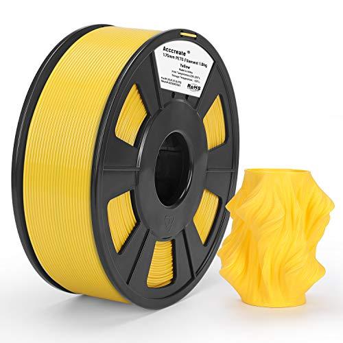 Weistek PETG 1,75 mm Filament für 3D-Drucker, 1 kg PETG 3D-Druckerfilament, Maßgenauigkeit +/- 0,02 mm, 1 kg Spule, 1,75 mm, (Gelb)