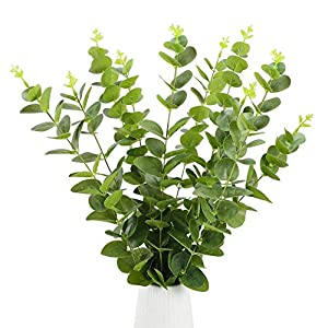 artificial bouquet of flowers in vase,10Pcs Artificial Silver Dollar Eucalyptus Fake Silk Eucalyptus Stems Foliage Spray Plastic Plants Shrubs Branches Bushes Greenery for Wedding Home Floral Arra