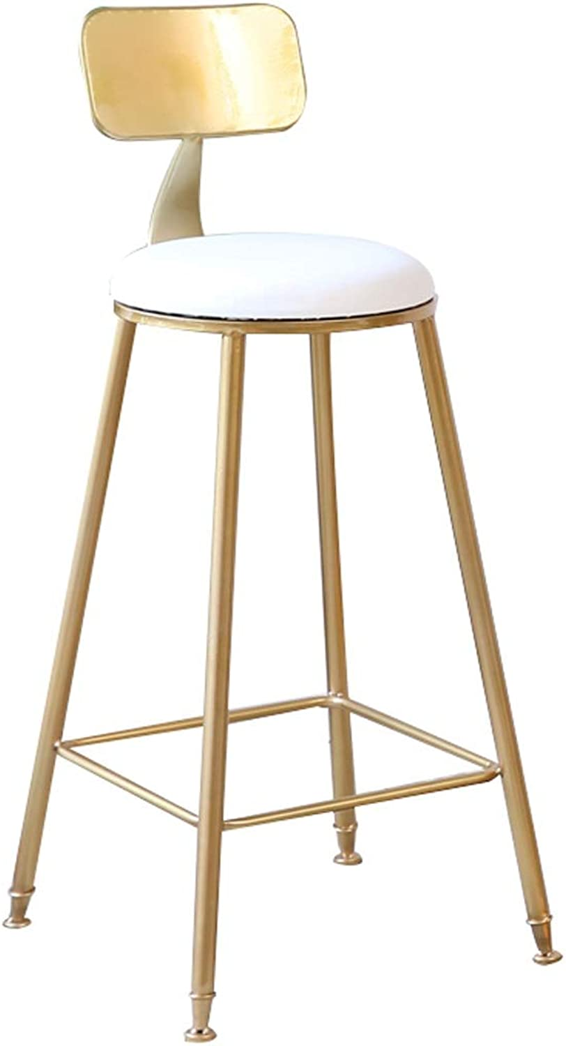 Hzpxsb Creative gold Wrought Iron Armchair Nordic Style Makeup Stool Bar Stool Fabric Cafe Dining Chair High Stool Leisure High Chair Decoration Stool (Size   65CM)