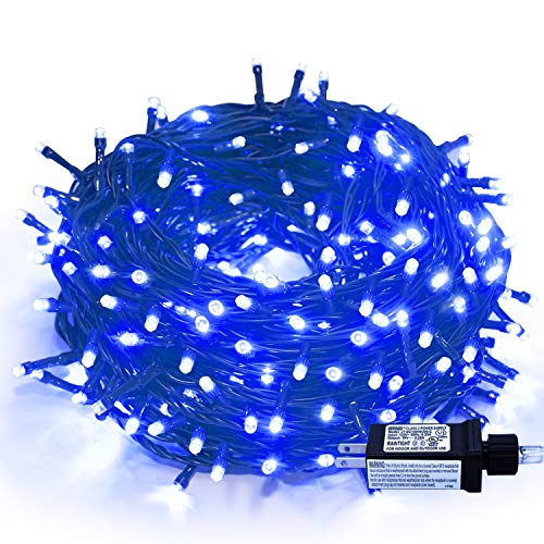 320 LEDs 115ft/35m String Lights - Memory Function End-to-End Plug in Outdoor/Indoor Waterproof Decorative Fairy Twinkle Christmas String Lights with 8 Modes for Room/Tree/Wedding/New Year/Home - Blue