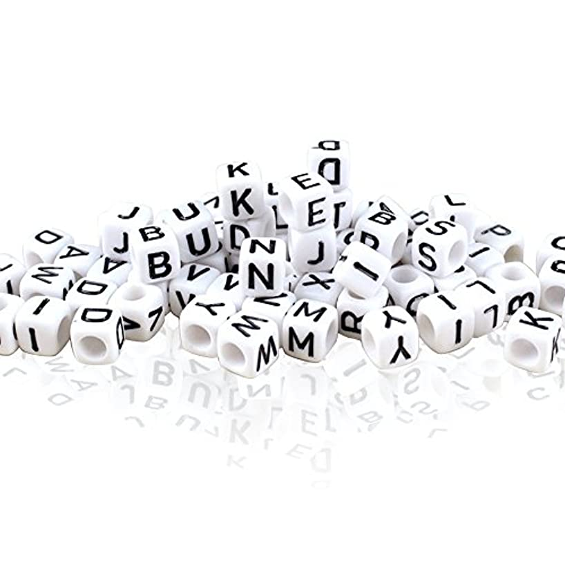 800PCS 6MM White Acrylic Alphabet Letter A-Z Cube Beads for Jewelry Making, Bracelets, Necklaces, Key Chains and Kids Jewelry