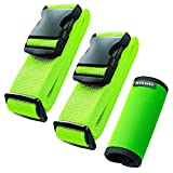Hibate (2_Green) Luggage Straps Belts and (1_Green) Neoprene Suitcase Handle Wrap Grip Tags