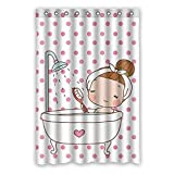 Photo de CHATAE Rideau de Douche à Pois Rouge à Pois pour la Douche, Pretty Girl Taking a Bath avec Motif de Bath étanche en Polyester Blanc 121,9 x 182,9 cm (120 x 183 cm)