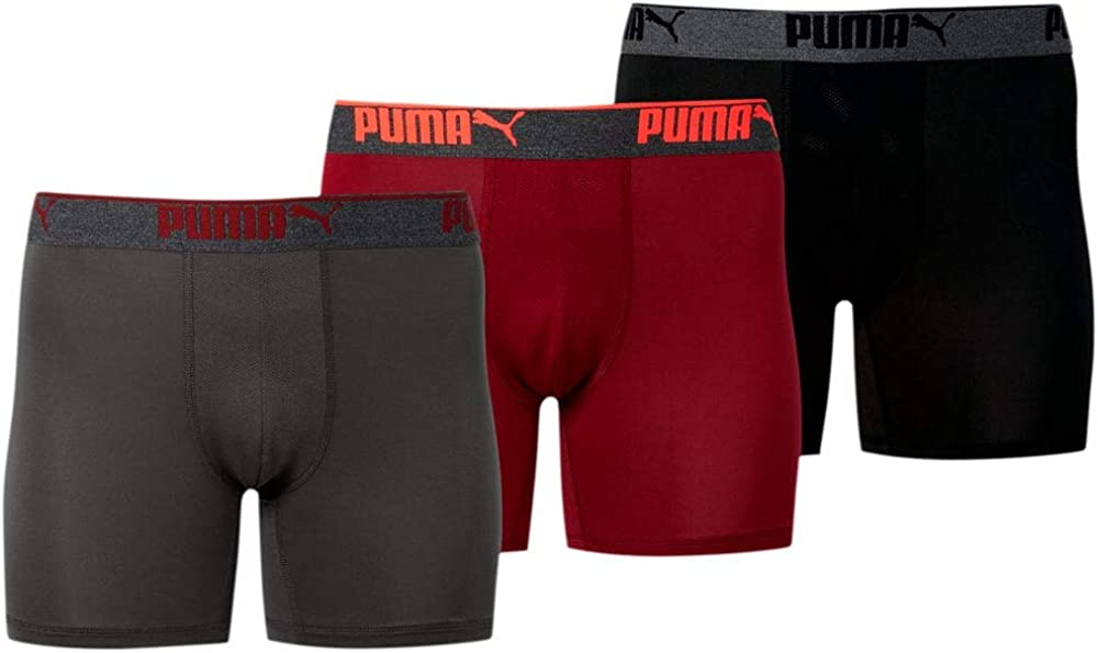 Puma Mens 3Pk Performance Boxer Brief Underwear - Black