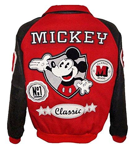 LP-FACON Michael Jackson Mickey Mouse Logo Classic Letterman Bomber Chaqueta de cuero