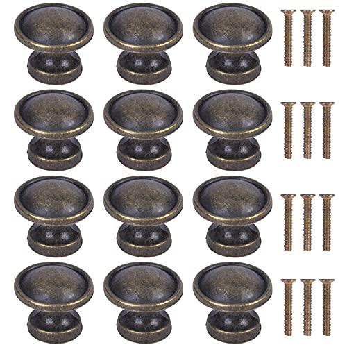 12PCS Perillas de Gabinete Redondas, 24mm Vintage Bronce Pomo para Armario Redondo,...