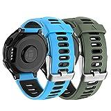 Isabake Correa de reloj para Garmin Forerunner 735XT 235 235Lite 230 220 620 630, correa de repuesto de silicona suave para accesorios de reloj Approach S20 S5 S6 (verde armado/azul)