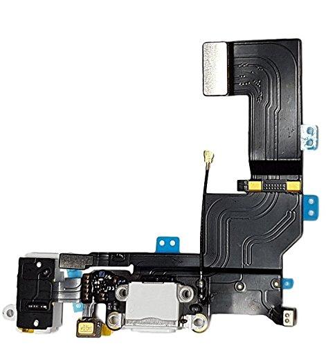 Smartex Conector de Carga de Repuesto Compatible con iPhone 5S Blanco – Dock de repeusto con Cable Flex, Altavoz, Antena, Micrófono y Conexión Botón de Inicio.
