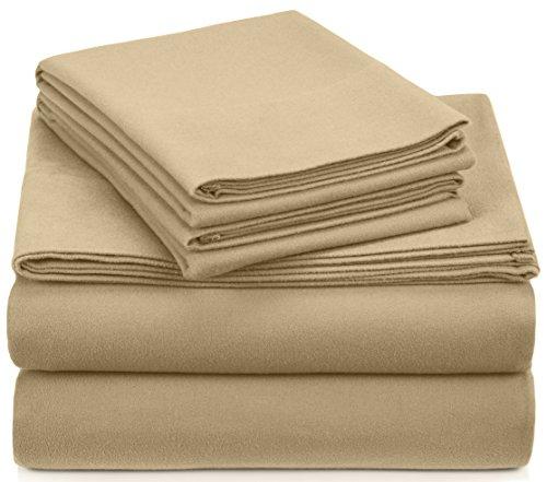 Amazon Brand – Pinzon Signature Cotton Heavyweight Velvet Flannel Sheet Set - Queen, Chamois