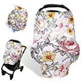 Floral Baby Car Seat Cover Girls, Infant Carseat Canopy, Stretchy Multi- use Nursing Cover for Stroller/High Chair/Shopping Cart/Car Seat Canopies
