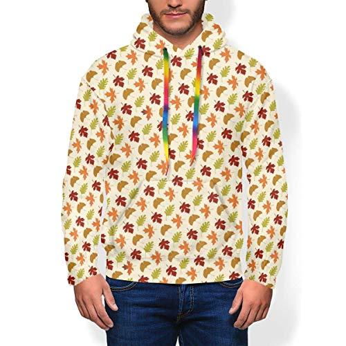 longing-summer Pull Hoodie Thanksgiving Feuilles Sur Tan Cartoon Sweat-shirt à Capuche pour Hommes - - XXX-Large