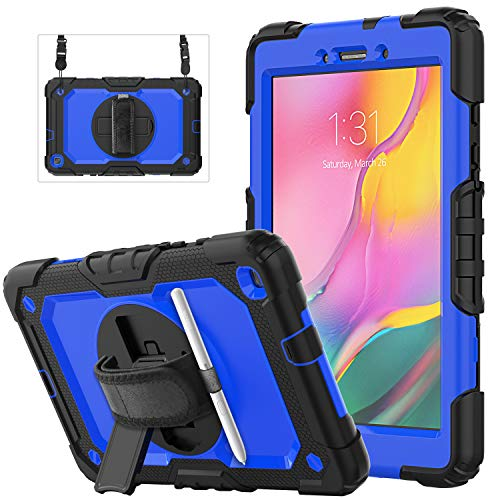 Samsung Galaxy Tab A 8.0 Case SM-T290/T295/T297 | Herize Heavy Duty Shockproof Hard Durable Rubber Protective Cover with Screen Protector Pencil Holder Hand Strap Shoulder Strap for Galaxy Tab A 8.0