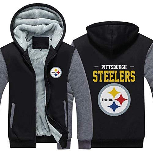 CCKWX NFL Hoodie, Pittsburgh Steelers Football Kleidung Langarm-T-Shirt Gedruckt Kapuze Langarmshirt Komfortabel Sweatshirt,B,XL
