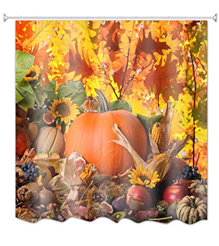 A.Monamour Ernte Herbst Jahreszeit Kürbis Obst Gemüse Foto Bild Druck Textil Polyester Duschvorhänge Textil 180X200 cm / 72