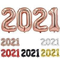TONIFUL 2021 Happy New Year バルーン 40インチ ローズゴールド 2021 数字バルーン アルミホイルマイラーバルーン 2021年 大晦日 卒業 クリスマス 記念日 パーティー用品 (ローズゴールド)