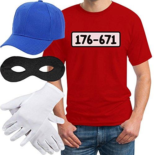 Panzerknacker Banditen Bande Herren Kostüm Shirt + MÜTZE + Maske + Handschuhe T-Shirt L Rot
