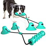 Decdeal Juguetes para Morder para Perros Juguete Interactivo para Tirar Mascotas con 2 Ventosas para Tirar Limpieza de Dientes de Masticación