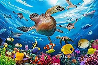 Ouriky 100 Pieces Puzzles for Kids Ages 4-8, Underwater Swim Turtle Jigsaw Puzzles for Toddler Children Learning Educational Puzzle Toy