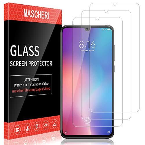 MASCHERI Schutzfolie für Xiaomi Mi 9, Xiaomi Mi 9 Panzerglas [3 Stück] [Fingerabdruck-ID unterstützen] Xiaomi 9 Bildschirmschutz Glas Bildschirmschutzfolie