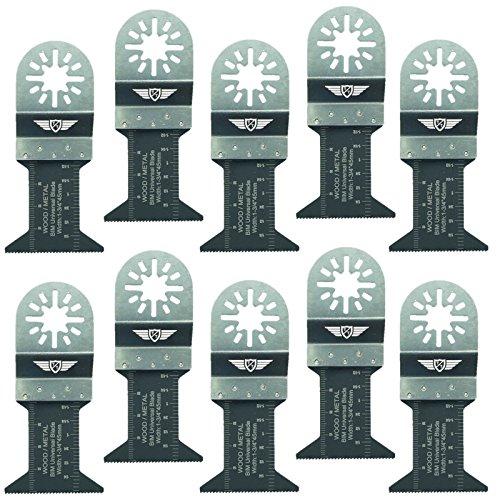 10 x 44mm TopsTools UN44B_10 Cuchillas para metal para Bosch Fein (No-StarLock) Makita Milwaukee Einhell Hitachi Parkside Ryobi Worx Multi-herramienta Workzone y Accesorios de Multi-herramientas