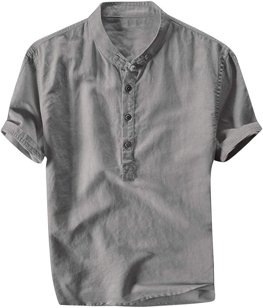 Mens Short Sleeve Henley Shirts Casual Slim Fit Vertical Summer Lightweight Hippie T-Shirt Beach Yoga Tops Blouse