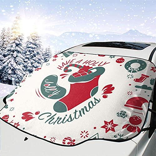 Tcerlcir Cubierta de Nieve para Parabrisas de Coche Navidad Año Nuevo Cubierta de Parabrisas Cubierta de Nieve Delantera Parasol Protector de Parasol Plegable, 147x118cm