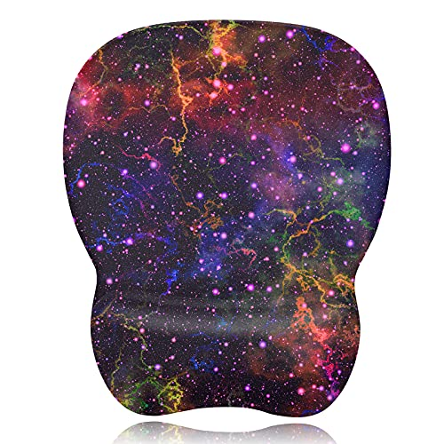 Mouse Pad with Wrist Support, Ergonomic Mouse Pad Wrist Rest, Non-Slip PU Base Keyboard Wrist Support Mousepad for Comfortable and Pain Relief Perfect for Gaming or Office (Universe)