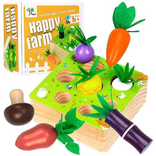 Juguete de Madera Montessori Rompecabezas de Madera Cosecha de Zanahorias Habilidades motoras para bebés Juego de clasificación de Forma y tamaño Juguete de Aprendizaje Educativo de Granja para niños