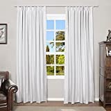 TWOPAGES White Linen Look Blackout Drape, Solid Thermal Insulated Sun Blocking Privacy Pinch Pleat Curtain for Bedroom Living Room, 72W x 96L