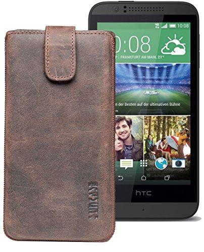 Original Suncase® Etui Tasche für HTC Desire 510 | HTC Desire 526G Dual SIM | ZTE Blade V6 Leder Etui Handytasche Ledertasche Schutzhülle Hülle Hülle *Lasche mit Rückzugfunktion* antik-dark braun