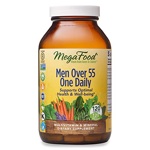 MegaFood, Men Over 55 One Daily, Supports Optimal Health and Wellbeing, Multivitamin and Mineral Dietary Supplement, Vegetarian, 120 tablets (120 servings)