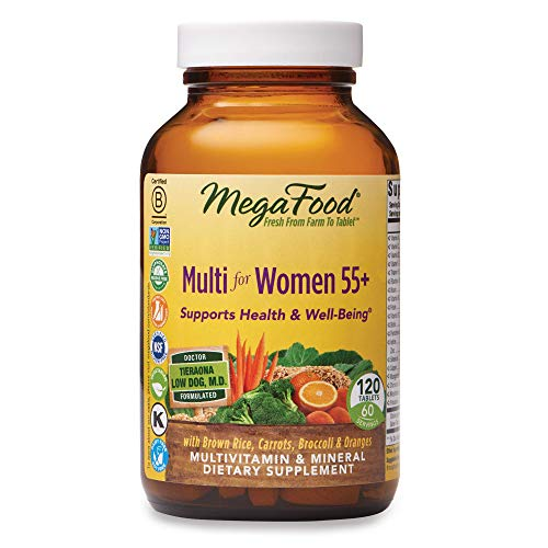 MegaFood, Multi for Women 55+, Supports Optimal Health and Wellbeing, Multivitamin and Mineral Dietary Supplement, Gluten Free, Vegetarian, 120 Tablets