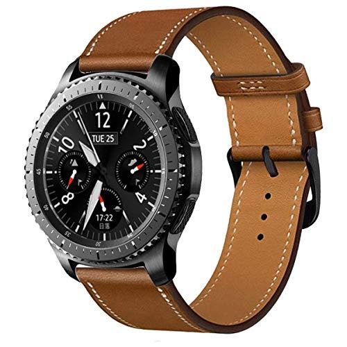 iBazal 22mm Cinturino Pelle Bandas Cuoio Band Compatibile con Samsung Galaxy Watch 3 45mm Gear S3 Frontier Classic SM-R760,Galaxy Watch 46mm SM-R800,Huawei GT 2 Classic,TicWatch PRO Uomo - Marrone