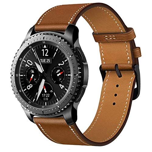 iBazal 22mm Armband Leder Uhrenarmband Lederarmband Armbänder Ersatz für Samsung Gear S3 Frontier/Classic,Galaxy Watch 46mm,Huawei GT/Honor Magic/2 Classic,Ticwatch Pro Herren Uhrarmband - Braun