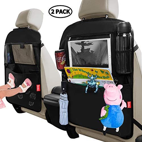 ZaneSun Car Backseat Organizer with Touch Screen Tablet Holder,Kick Mats Seat Back Protectors for Kids Toy Bottle Drink Vehicles Travel