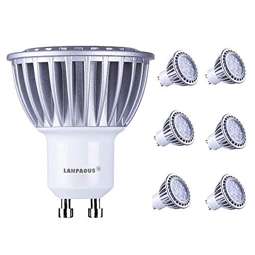 Lampaous PB-Versand - Bombilla led (GU10, 7 W, luz blanca fría, equivalente a 70 W, 600 lm, 230 V CA, 6 unidades)
