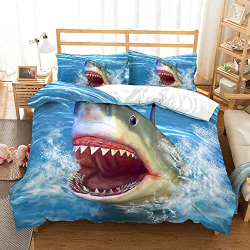 MOUMOUHOME Full/Queen Size Shark Bedding Kids Gift 3D Shark Jumping from Ocean Big Open Mouth Printed Blue Duvet Cover Bed Sets with Zipper for Boys Girls 3 Pieces No Comforter