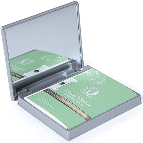 Makeup Mirror with Facial Oil Blotting Paper Sheets Green Tea 100 Counts Silver Compact Folding product image
