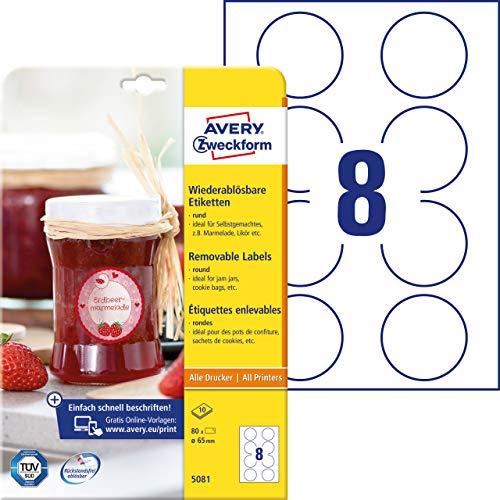 AVERY Zweckform Marmeladenetiketten Art. 5081 (80 Aufkleber ablösbar, Ø 65mm auf A4, rund, für Einmachgläser, Gewürzgläser, Gebäcktüten, Geschenke und Selbstgemachtes aus der Küche) 10 Blatt weiß